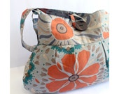 Tangerine Orange Spring Flower Hobo Tote Bag Cotton Screenprinted - Ready to ship