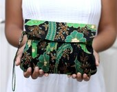 Pleated Wristlet Purse in Green Javanese Batik