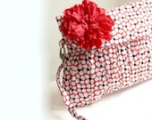 Red Clutch Purse in Red and Black Cherry Blossom- Valentine Gift