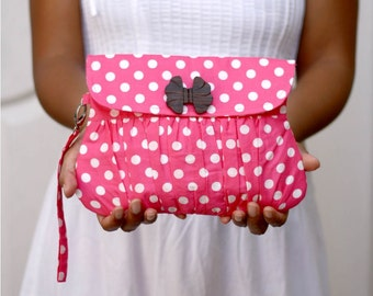 Pink Polkadot Valentine Gathered Clutch Purse