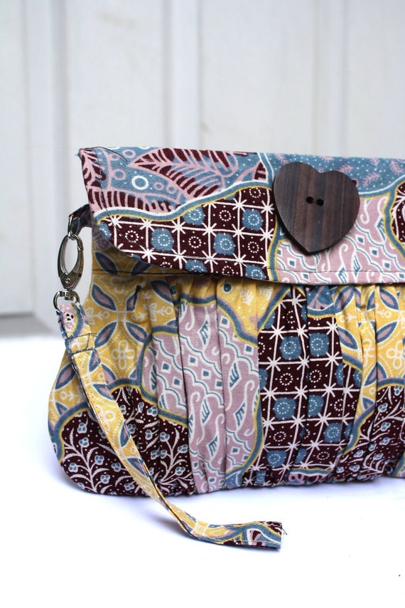 Wristlet Clutch in Traditional Indonesian Batik Blue and Yellow