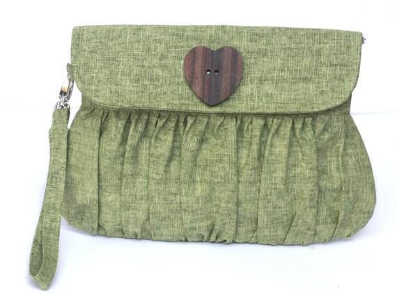 Green Clutch Purse, Linen Clutch, Sage Green