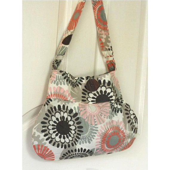Retro Bag - pastel color Grey and Coral flower hobo bag - Ready to Ship