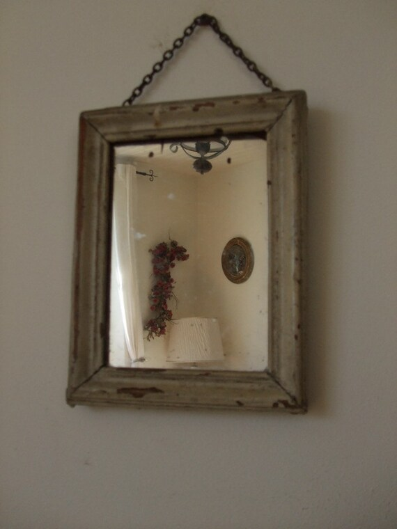 Vintage french small old hanging mirror with chain for Small hanging mirror