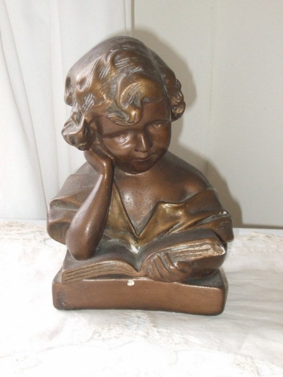 Vintage French plaster statue of a young girl reading a book