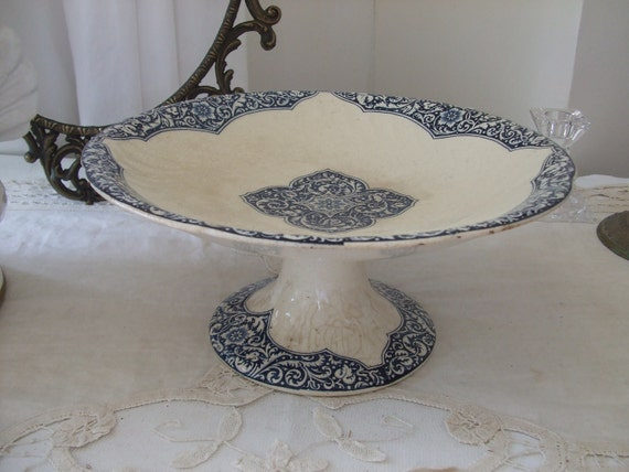 Antique French simply beautiful, very old,  country compote dish / fruit bowl.  Terre de Fer. Country cottage chic