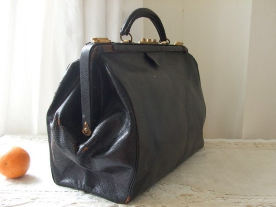 Large weekend style Vintage/ Antique French old black leather doctor bag.  Avenue de l'opera.  Paris