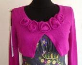 Woman Cardigan /  / Bolero / Mini cardigan / Cardigan pink woman /jersey /wool /flowers/ crop top /blause/sweater/saze S,M,L,XL