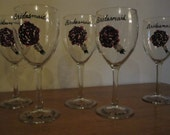 Set of 5 Hand Painted Bridesmaids Wine Glasses