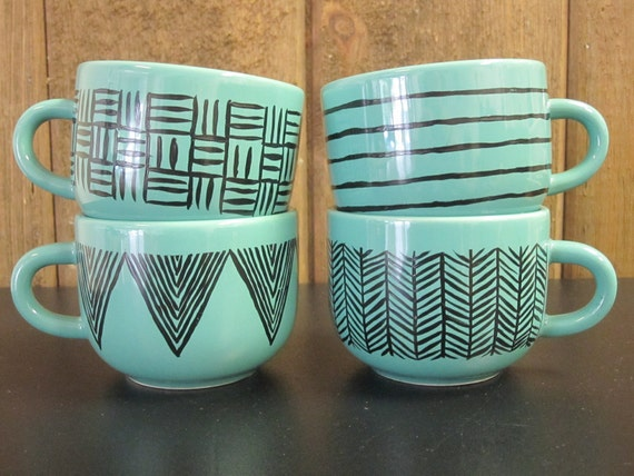 Set Of 4 Turquoise Hand Painted With Patterns By
