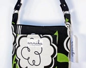 HEAVY DUTY Handmade Cross-Body Purse in Black, Apple Green, and Cream Floral