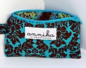 Zipper Pouch Coin Purse in Brown and Aqua Damask