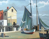 Paint by Number Harbor Seascape painting with seagulls and sailboat, framed and ready to hang for your retro home