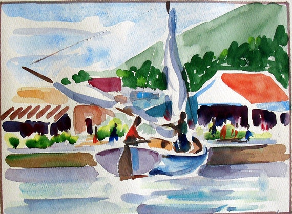 Vintage Watercolor Painting Sailboat In Harbor Virgin Islands