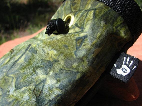 Green Turquoise Swirls Rock Climbing Chalk Bag Fleece Lined