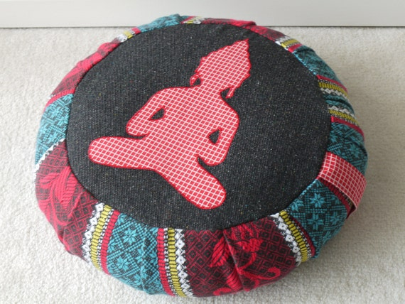 Meditation cushion / zafu / pouf (COVER ONLY) red, teal and black print - eco-friendly, made with recycled fabric
