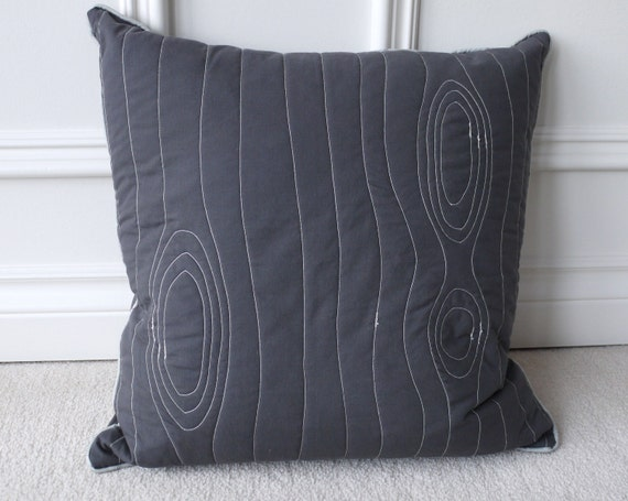 "Modern grey stitched wood grain ""faux bois"" decorative pillow cover, made from recycled fabric"
