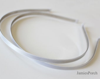 5pcs..5mm(0.20inch or 3/16 inch) White Satin Ribbon Covered  Metal(Steel) Headband