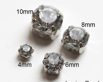 30pcs 4mm(5/32 inch) Nickel Free Faceted Round Cut Acrylic Crystal With Rhodium Plated Metal cap for Jewelry, accessory and clothing