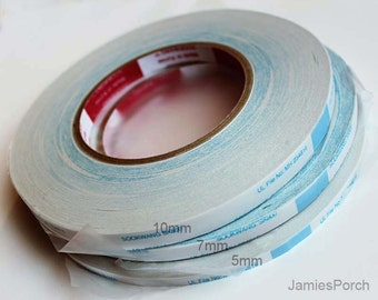 2 rolls 55 Yards 7mm(just over 1/4 inch) Double stick(coated) Non Woven Fabric craft scor tape for Craft, Jewelry..