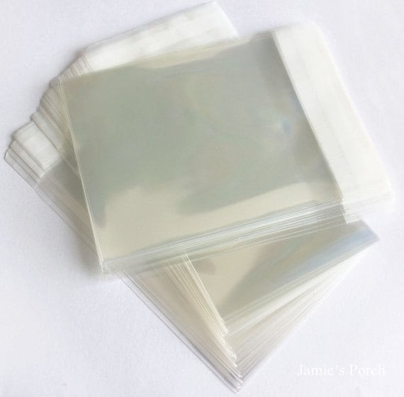 200pcs Thick Crystal Clear Resealable OPP Cello Poly Bag Envelope 70mm X 70mm and 40mm(flap) on Top