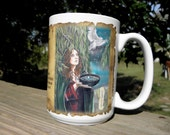 Willow Tree Art Celtic Ogham, 15 oz Coffee Mug