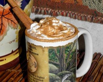 Hazel Tree Art Celtic Ogham, 15 oz Coffee Mug