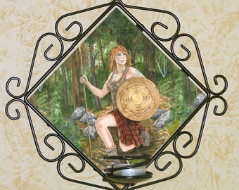 Ogham Shield Celtic Warrior Woman Wall Candle Sconce
