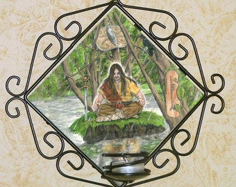 Ogham Shield Alder Card, Bran the Blessed Wall Candle Sconce