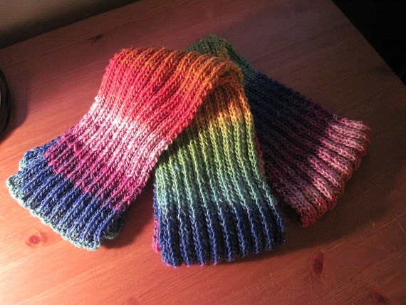 Rainbow Ribbed Scarf - PIF - Profits to Charity (no kill shelter)