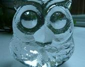 1970's Owl Crystal Figurine Paperweight by SKRUF Sweden, Retro Winter Decor