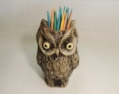 Black Friday Etsy / Cyber Monday Etsy. Vintage Owl Toothpick Holder, Brown Owl, Autumn Fall Winter Decor