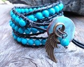 Blue leather wrap bracelet - Rustic bohemian leather jewelry - beaded leather wrap bracelet southwestern cowgirl jewelry