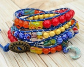 Colorful beaded leather wrap bracelet multi color bohemian bracelet colorful hippie jewelry