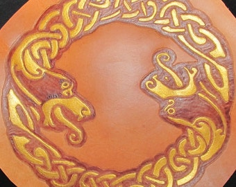 "Handmade Leather Patch ""CELTIC 2 HEADED SERPENT"" Burned And Painted Wearable Art"