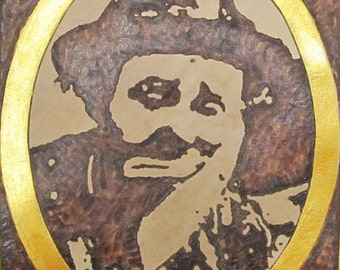 EMMETT KELLY - CLOWN - Handmade Leather Patch - Burned And Painted Wearable Art