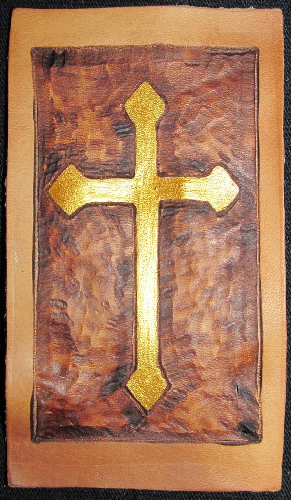 Handmade Leather Patch - CROSS NUMBER 6 - Burned And Painted Wearable Art