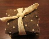 Vintage Chocolate Polka Dot Lavendar sachets (set of 3)