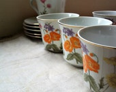 Fine China of Japan Wild Flower Teacups and saucers Set of 5