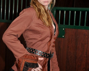 Steampunk Ladies jacket tatterpunk in brown