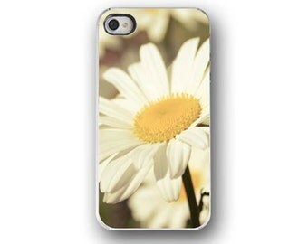 Daisy, iPhone 4 4s Case, White, Yellow, Flower Photography, Cell Phone Case, Accessory for iPhone 4 4s