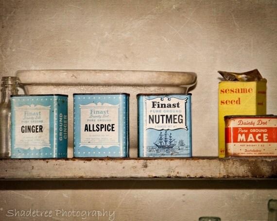 Spices Vintage Baby Blue Sepia Kitchen Decor Vintage Kitchen Farmhouse Decor Rustic Warm Simple Style Farm