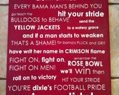 Alabama Crimson Tide Fight Song Subway Art