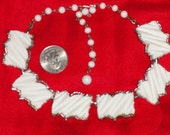 Vintage BSK 50s carved faux ivory and silver tone choker necklace