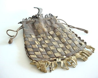 Fringed Leather Bag Purse Pouch - Belt Loop and Drawstring Closure - Vintage Approx 1930s - Brown and White Leather - Small Drawstring Bag