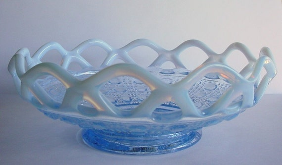 Imperial Glass Bowl - Ohio Laced Edge - Blue Opalescent - Sugar Cane Vintage 1930s