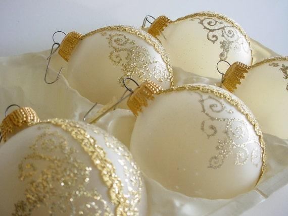 West German Ornaments - Set of 5 - Hand Blown - Vintage 1950's