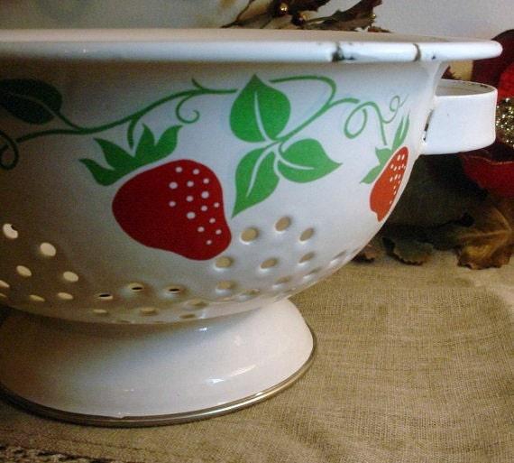 White Enamel Colander Bowl with a Strawberry Design Vintage Chippy Paint