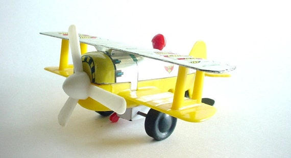 Toy Biplane Airplane - Vintage 1950s D12 Tin and Plastic Wind-Up Toy - Made in Japan - Yellow, Red - wlv t