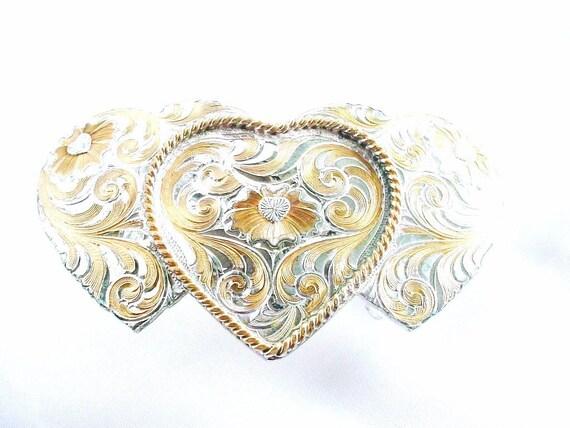 Triple Heart Belt Buckle - Vintage Montana Silversmiths - Sterling Silver Plate - wlv t